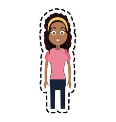 happy woman cartoon icon image vector image