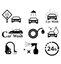 Isolated car wash icons set vector