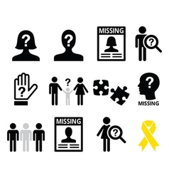 Missing people missing child icons set vector image vector image