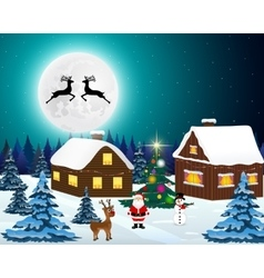 Night christmas forest landscape Santa Claus with vector image vector image