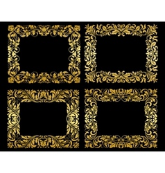 Ornate gold floral frames vector