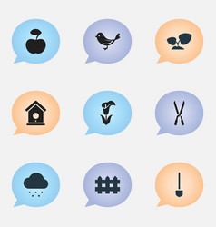 set of 9 editable farm icons includes symbols vector image