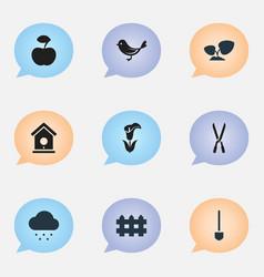 Set of 9 editable farm icons includes symbols vector