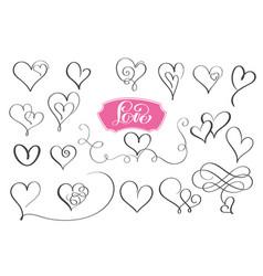 set of hand drawn sketchy calligraphy hearts vector image