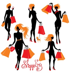 Set of shopping woman silhouettes isolated on whit vector