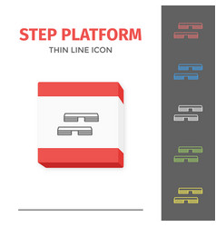 Simple line stroked step platform icon vector