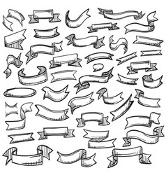 sketch of hand drawn ribbon set vector image