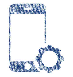 Smartphone setup gear fabric textured icon vector