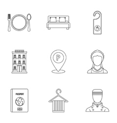 Staying in hotel icons set outline style vector