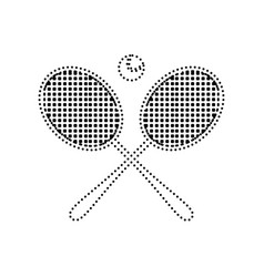Tennis racket sign black dotted icon on vector