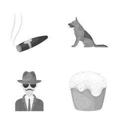 Travel detective and other monochrome icon in vector