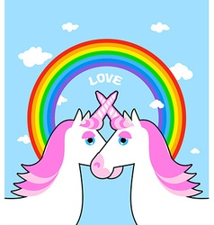 Two pink unicorn and rainbow love symbol of lgbt vector