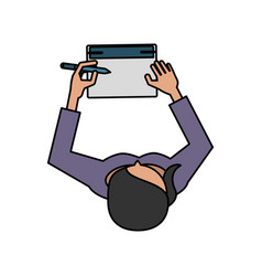 Woman writing on notepad topview icon image vector