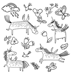 Set with cute doodlemagic mythology unicorns vector
