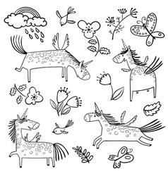 Set with cute doodlemagic mythology unicorns vector image