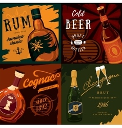 Alcohol bottles poster advertisement vector