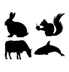 Black and white animals icon set vector image