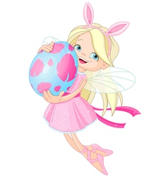 Cute fairy flying with easter egg vector