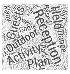 Outdoor wedding reception activities word cloud vector