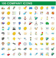 100 company icons set cartoon style vector