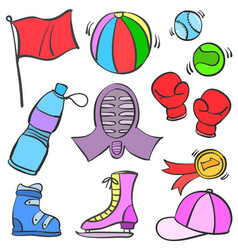 collection stock of sport equipment theme doodles vector image