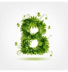 Green eco letter b for your design vector
