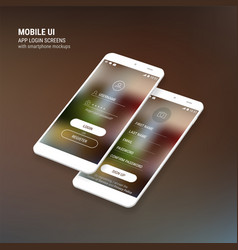 ui sign in and sign up screens and 3d smartphone vector image
