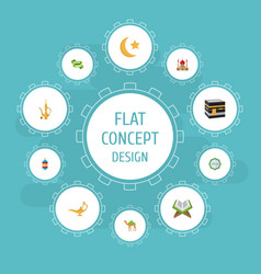 Flat icons new lunar mecca pitcher and other vector