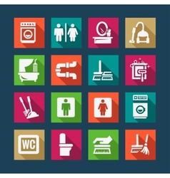 Flat cleaning icons set vector