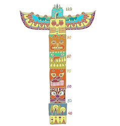 Colorful totem pole with height scale vector