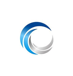 Circle abstract technology blue logo vector