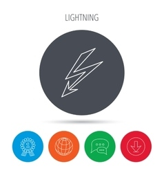 Lightening bolt icon power supply sign vector