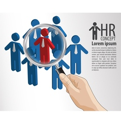 Hr concept hand hold magnifying glass vector