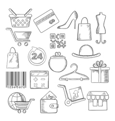 Shopping business and commerce sketch icons vector