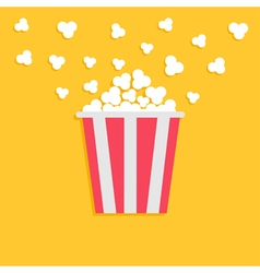 Popcorn popping red yellow strip box cinema movie vector