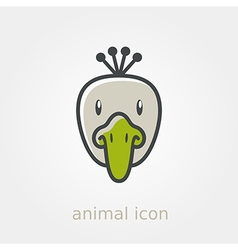 Peacock flat icon animal head vector