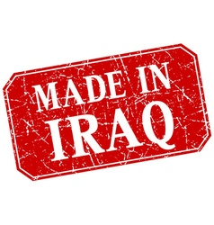 Made in iraq red square grunge stamp vector