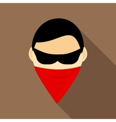 Spy in mask icon flat style vector