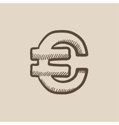 Euro symbol sketch icon vector