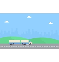 Beauty landscape container truck of flat vector