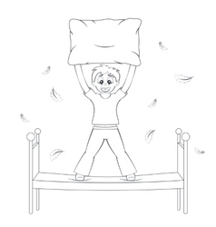 Bedtime in action boy starts pillow fight vector