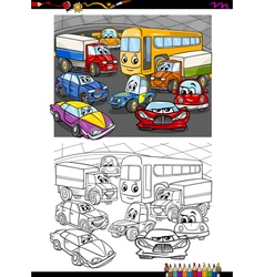 cars group coloring book vector image