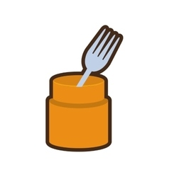 cartoon fork container utensil kitchen vector image