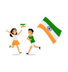 Cartoon indian kids running with indian flags vector