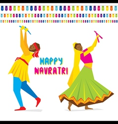 Celebrate navratri festival with dancing garba vector
