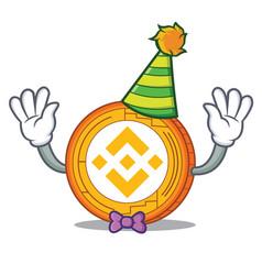 Clown binance coin mascot catoon vector