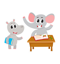 Cute animal student characters elepant at desk vector