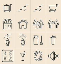 Exhibition Line Icons Set vector image