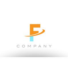 F orange blue logo icon alphabet design vector