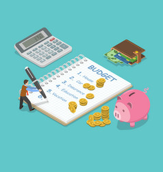 Family budget flat isometric concept vector